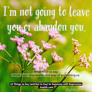How to help someone in Depression - I�m not going to abandon you