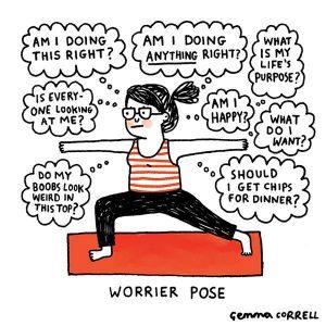 Funny yoga meme - Worrier pose - Gemma Correll
