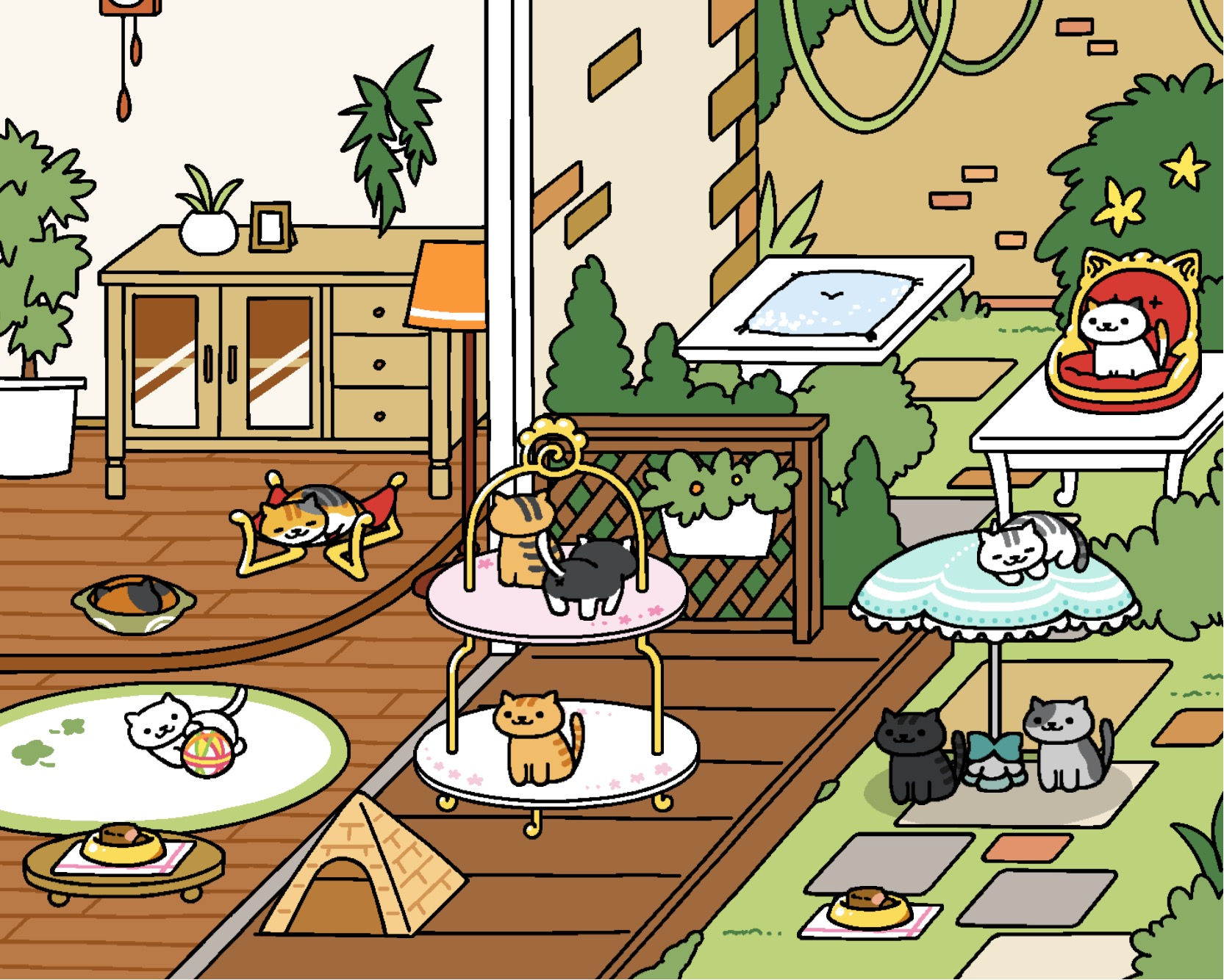 neko atsume update rustic style yard original