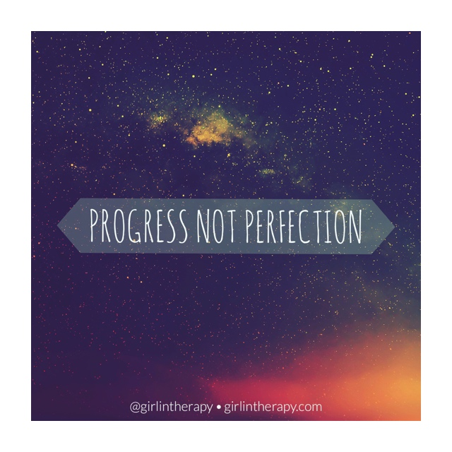 girlintherapy affirmation quote magnet Progress Not Perfection